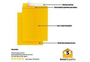 Self-Seal Catalog Envelopes, for Mailing, Organizing and Storage, Golden Brown Kraf 3